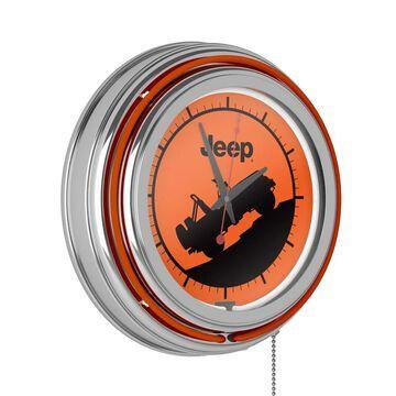 Jeep Neon Analog Wall Clock - Orange Silhouette