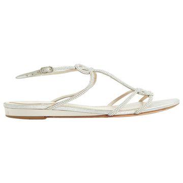 Rene Caovilla Silver Leather Sandals
