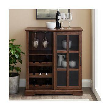 Walker Edison Cabinets Dark - Dark Walnut Sliding Glass Door Bar Cabinet