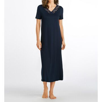 Hanro 77933 Moments Short Sleeve Long Gown (Deep Navy XS)