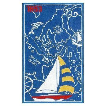 Blue Sail Boat Area Rug (32