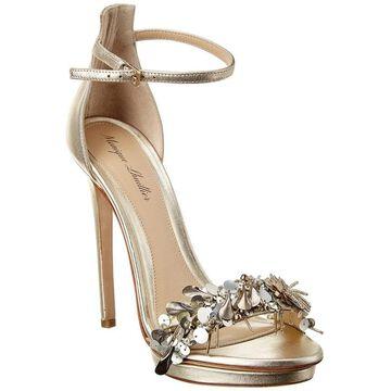 Monique Lhuillier Marlowe Leather Sandal - Silver