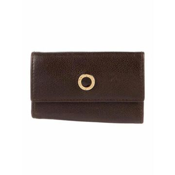 Key Holder Leather Compact Wallet Brown