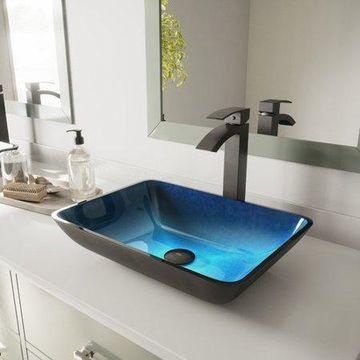 VIGO Rectangular Turquoise Water Glass Vessel Sink