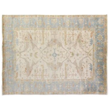 Exquisite Rugs Turkish Oushak Ivory / Blue New Zealand Wool Rug (10' x 14') - 10' x 14'