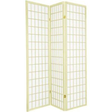 Oriental Furniture 6 Ft Tall Window Pane Shoji Screen, Special Edition, Ivory, 4 panel, Traditional