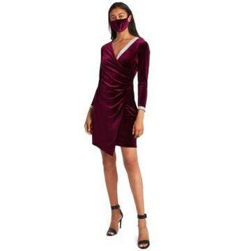 Msk Velvet Surplice Dress & Face Mask