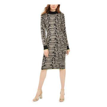 PLANET GOLD Black Long Sleeve Knee Length Dress XXS