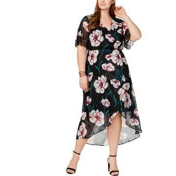 NY Collection Womens Plus Midi Dress Chiffon Faux-Wrap