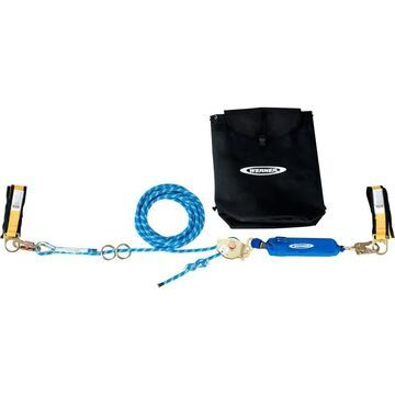 Werner 100ft. 2-Man Rope Horizontal Lifeline System with Cross-Arm Strap and Rope Tensioner - 400-Lb. Capacity, Model L100100