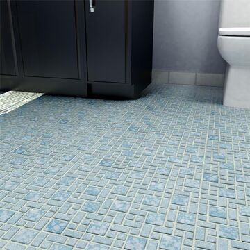 SomerTile 11.75x11.75-inch Academy Blue Porcelain Mosaic Floor and Wall Tile (10 tiles/9.8 sqft.) (CASE)