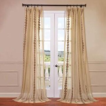 Exclusive Fabrics Cleopatra Embroidered Sheer Curtain Panel (50 X 108 - Cleopatra Gold)