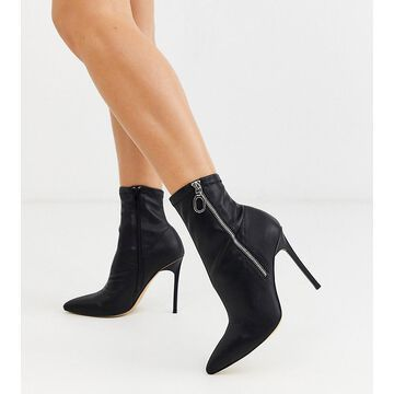 London Rebel wide fit pointed stiletto heeled boots in black