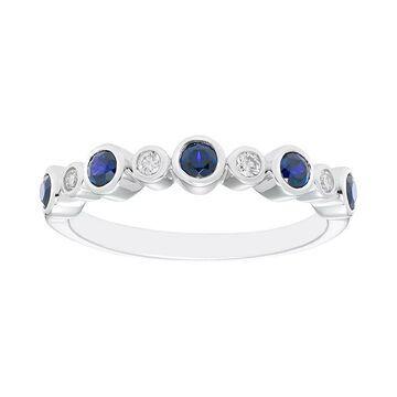 Boston Bay Diamonds Sterling Silver Gemstone & Diamond Accent Ring, Women's, Size: 5, Blue