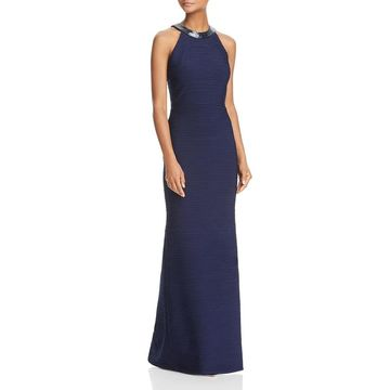 Carmen Marc Valvo Womens Evening Dress Ruched Beaded
