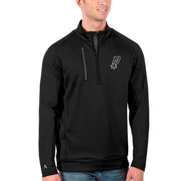 Men's Antigua Black San Antonio Spurs Generation Quarter-Zip Pullover Jacket