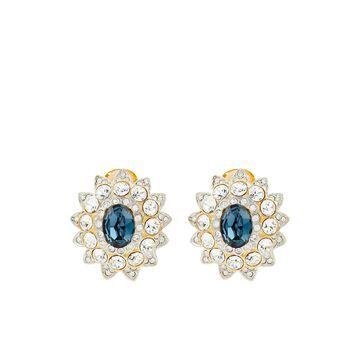 crystal embellished flower stud earrings