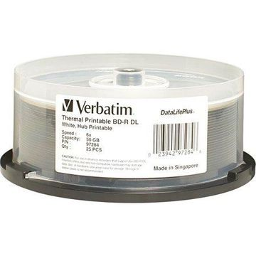 Verbatim Blu-Ray Dual Layer (BD-R DL) (50 GB) (6X) DataLifePlus White Hub Thermal Printable (Pkg=25/Spindle)