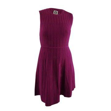 Anne Klein Women's Knit Fit & Flare Dress (L, Claret) - Claret - L