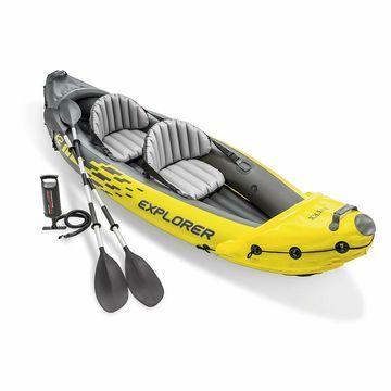 2 Person Inflatable Kayak Intex Explorer K2 Kayak Set Aluminum Oars Air Pump