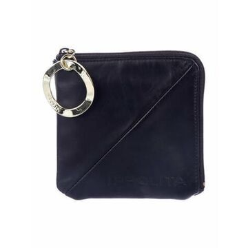 Leather Compact Wallet Black