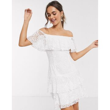 Little Mistress lace ruffle mini dress in white