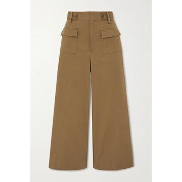 REDValentino - Cropped Cotton-blend Twill Wide-leg Pants - Army green
