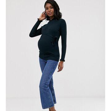Mamalicious high neck ribbed sweater-Navy