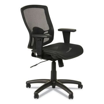 Alera Etros Series Suspension Mesh Mid-Back Synchro Tilt Chair, Supports up to 275 lbs, Black Seat/Black Back, Black Base (Clear)