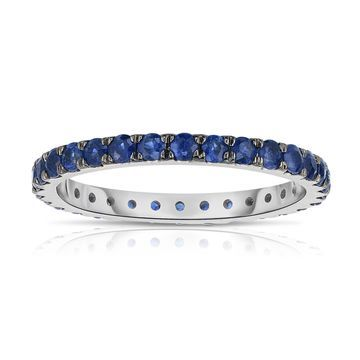 Noray Designs 14K White Gold Blue Sapphire Eternity Ring (1.30 cttw)