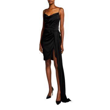 Satin Draped Mini Dress w/ Sash