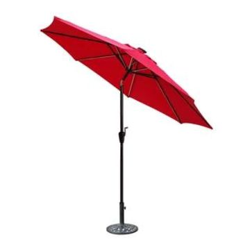 Jeco 9' LED Brown Aluminum Umbrella, Base Not Included (Red)