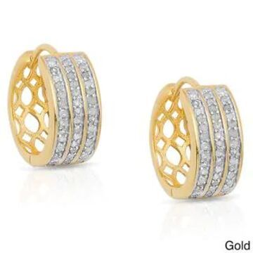 Finesque Sterling Silver 1/2ct TDW Diamond Hoop Earrings (Gold)