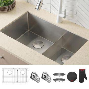 Kraus Standart PRO Undermount 32-in x 19-in Double Offset Bowl Kitchen Sink Stainless Steel | KHU103-32