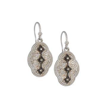 New World Scalloped Diamond Pave Drop earrings