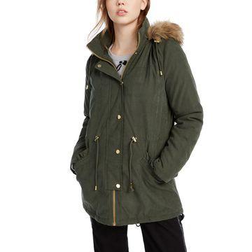 Juniors' Faux-Fur Trim Hooded Parka Coat