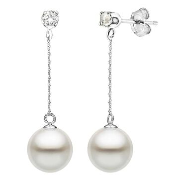 DaVonna 14K White Gold 1/10cttw Diamond White Freshwater Pearl Stud Dangle Earrings