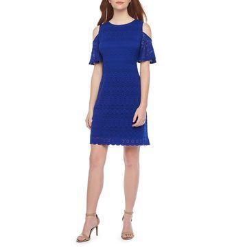 Ronni Nicole Short Sleeve Cold Shoulder Circle Lace Sheath Dress