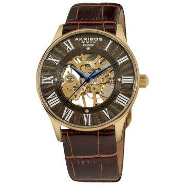 Akribos XXIV Slim Men's Brown-Dial Mechanical Gold-Tone Watch (Men's mechanical strap watch)