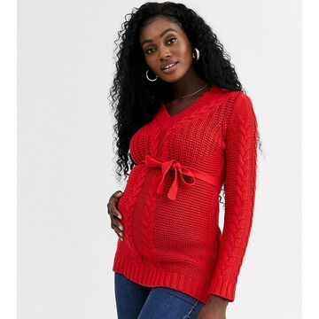 Mamalicious v neck cable sweater-Red