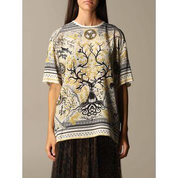 Roberto Cavalli Top Roberto Cavalli Silk Sweater With Oneiric Scarf Print