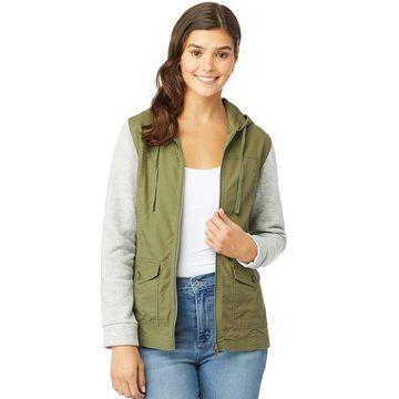 Juniors' Wallflower Knit Sleeve Utility Jacket