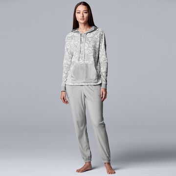 Women's Simply Vera Vera Wang Hooded Velour Pajama Top and Banded-Bottom Pajama Pants Set