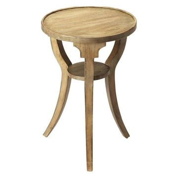 Offex Transitional Round Accent Table Driftwood, Gray