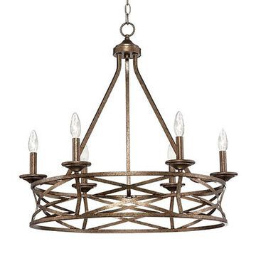 Millennium Lighting Lakewood 6-Light Vintage Gold Industrial Candle Chandelier