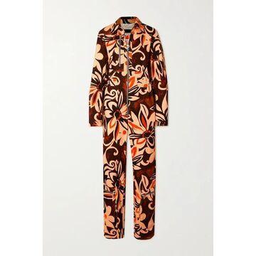 Dries Van Noten - Floral-print Cotton-corduroy Jumpsuit - Black