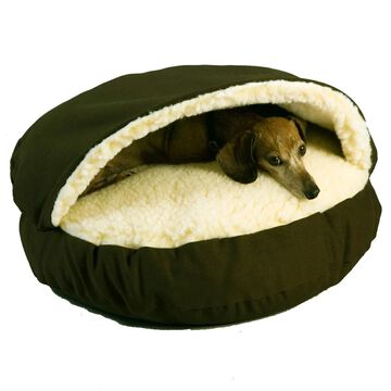 Snoozer Orthopedic Cozy Cave Pet Bed in Olive & Cream, 25