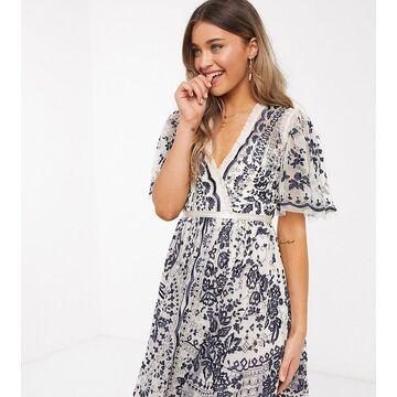 Needle & Thread exclusive plunge embroidered mini dress in monochrome-Multi