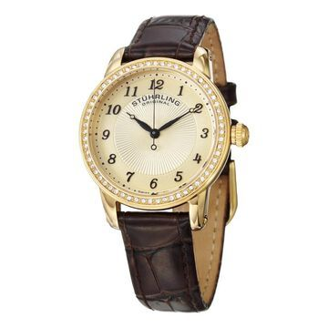 Stuhrling Original Women's Symphony Swiss Quartz Brown Crystal Leather Strap Watch - Gold (Stuhrling Original Women's Watch)