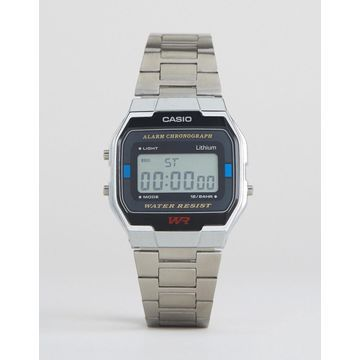 Casio A163WA-1QES digital bracelet watch in silver
